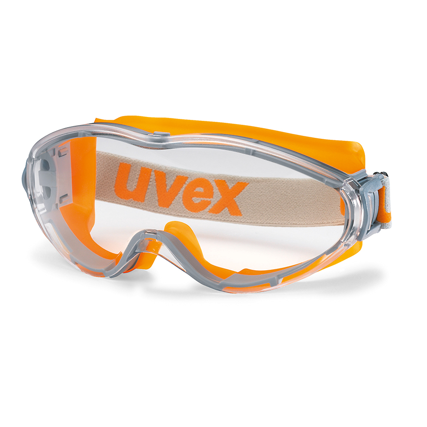 Schutzbrille von Uvex mit elastischem Band und beschlagfreien Scheiben