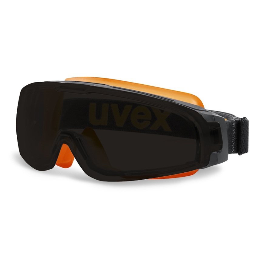 Schutzbrille von Uvex mit elastischem Band und getönten Scheiben