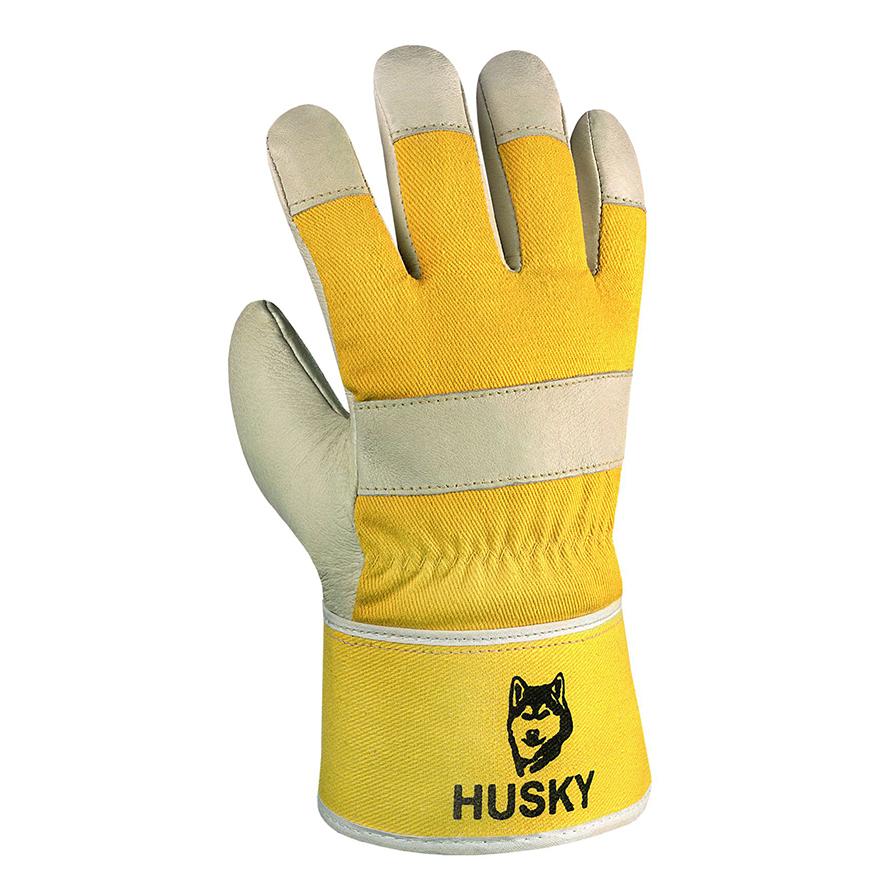 gelber Arbeitshandschuh aus Leder mit dem Namen Husky
