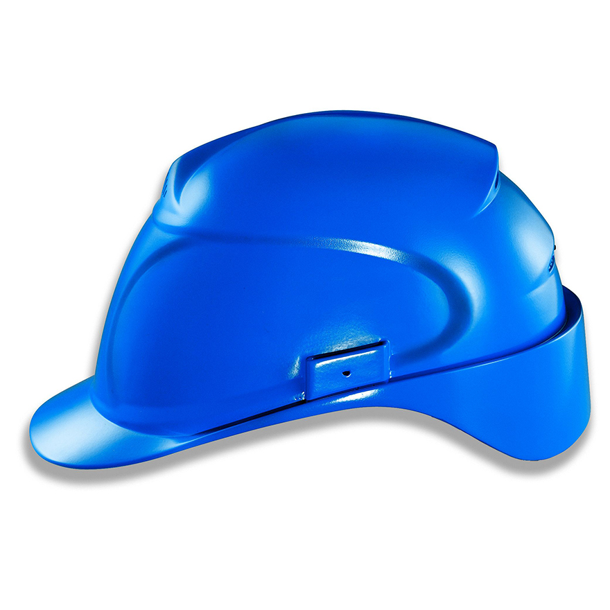 Kopfschutz, blauer Schutzhelm für Bauarbeiten