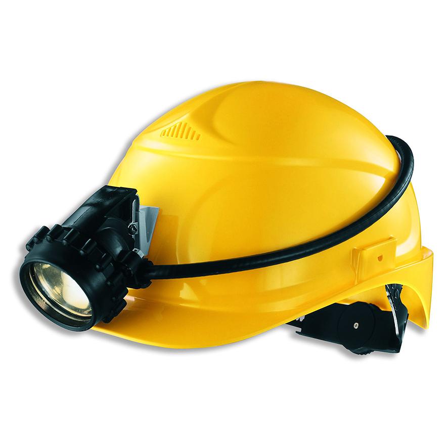 Schutzhelm gelb mit Stirnlampe und verstellbarer Größe mit Rad