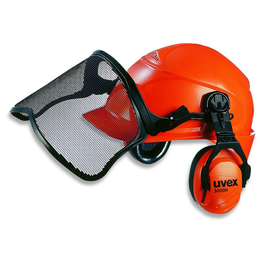 Schutzhelm mit Gehörschutz und Sichtschutz für Forstarbeiten