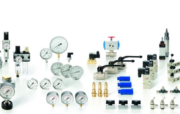 Armaturen und Druckregler, Ventile und Manometer