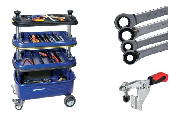 Werkzeugwagen mit Zangen, Schraubenziehern und Schraubenschlüsseln