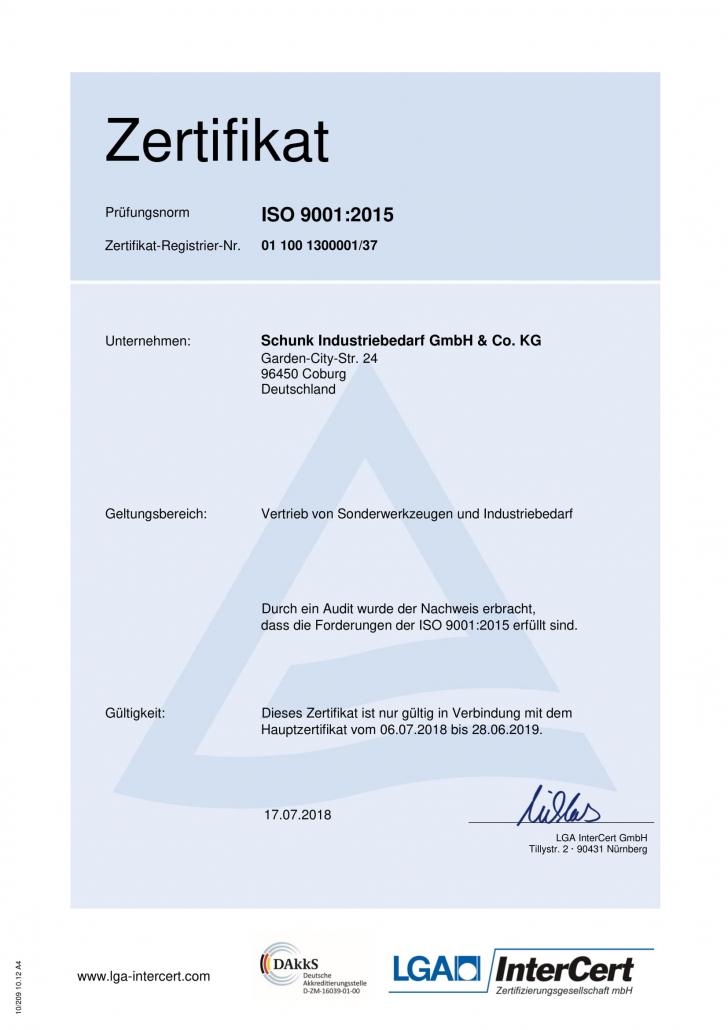 Zertifikat zur Prüfungsnorm ISO 9001:2015 für den Vertrieb von Sonderwerkzeugen und Industriebedarf